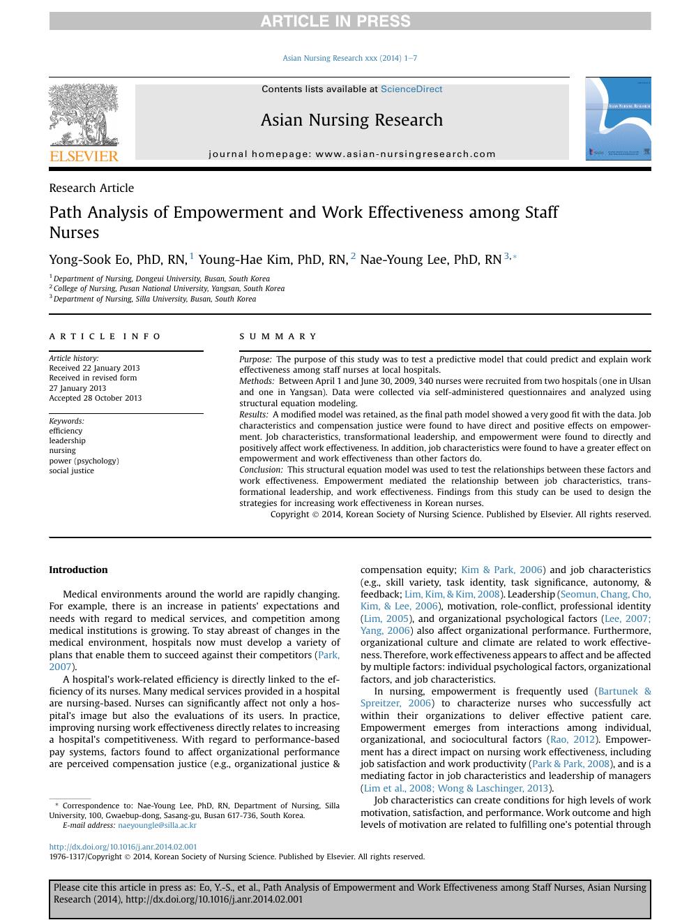 Path Analysis of Empowerment and Work Effectiveness among Staff