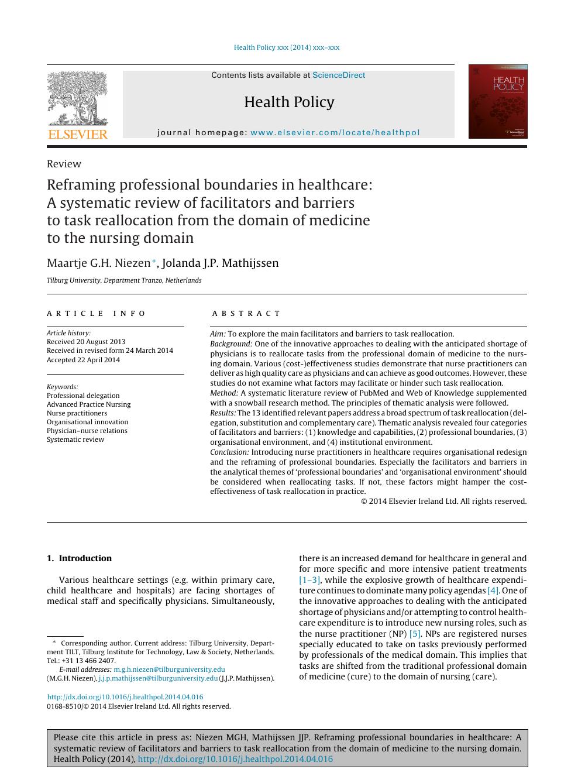 Reframing professional boundaries in healthcare: A