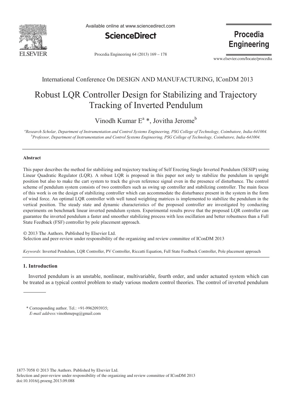 Robust LQR Controller Design for Stabilizing and Trajectory Tracking