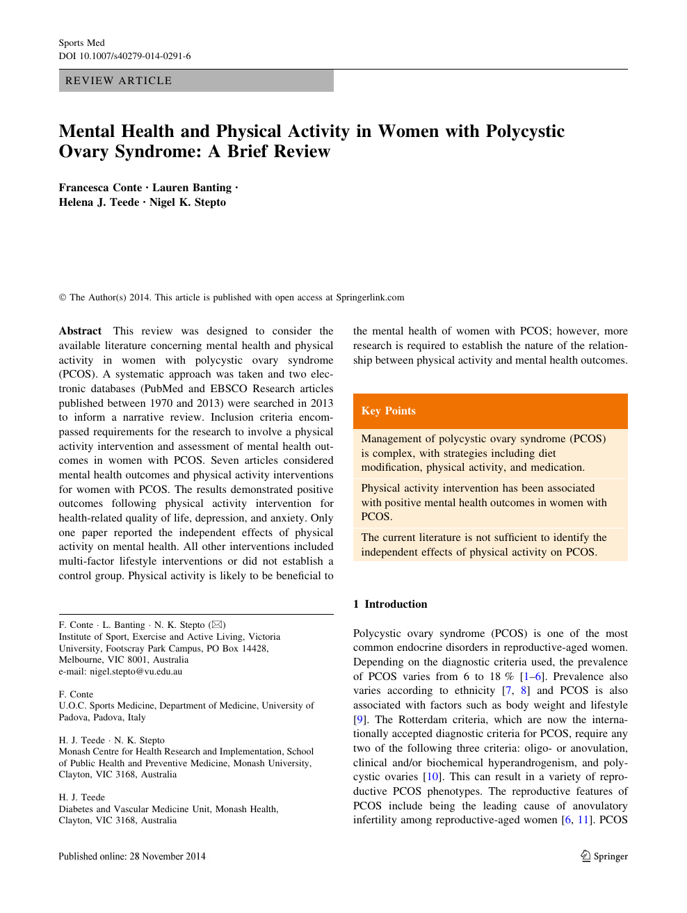 Mental Health and Physical Activity in Women with Polycystic