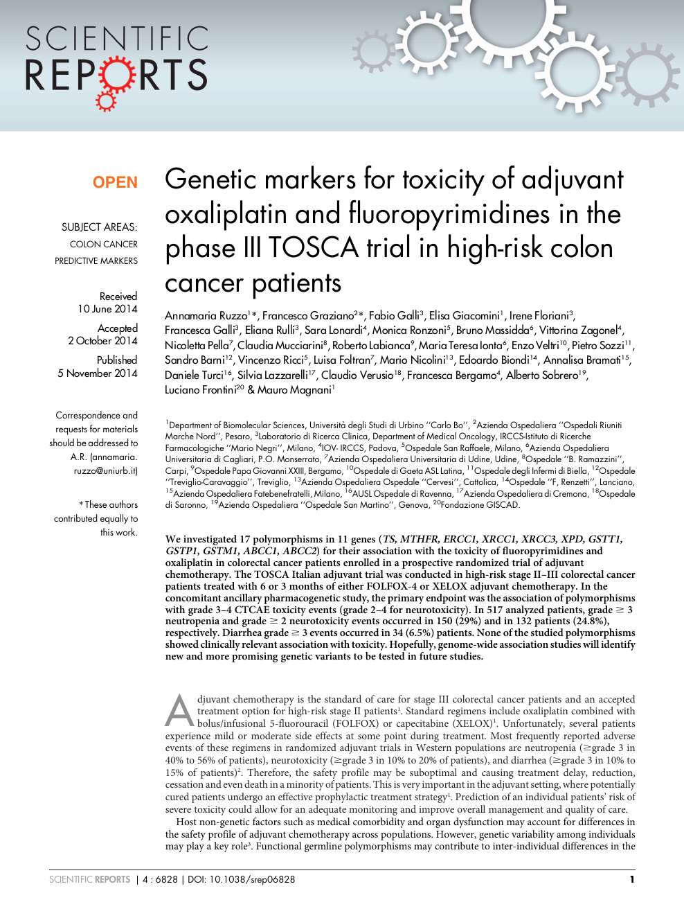 Genetic Markers For Toxicity Of Adjuvant Oxaliplatin And Fluoropyrimidines In The Phase Iii Tosca Trial In High Risk Colon Cancer Patients Topic Of Research Paper In Clinical Medicine Download Scholarly Article Pdf