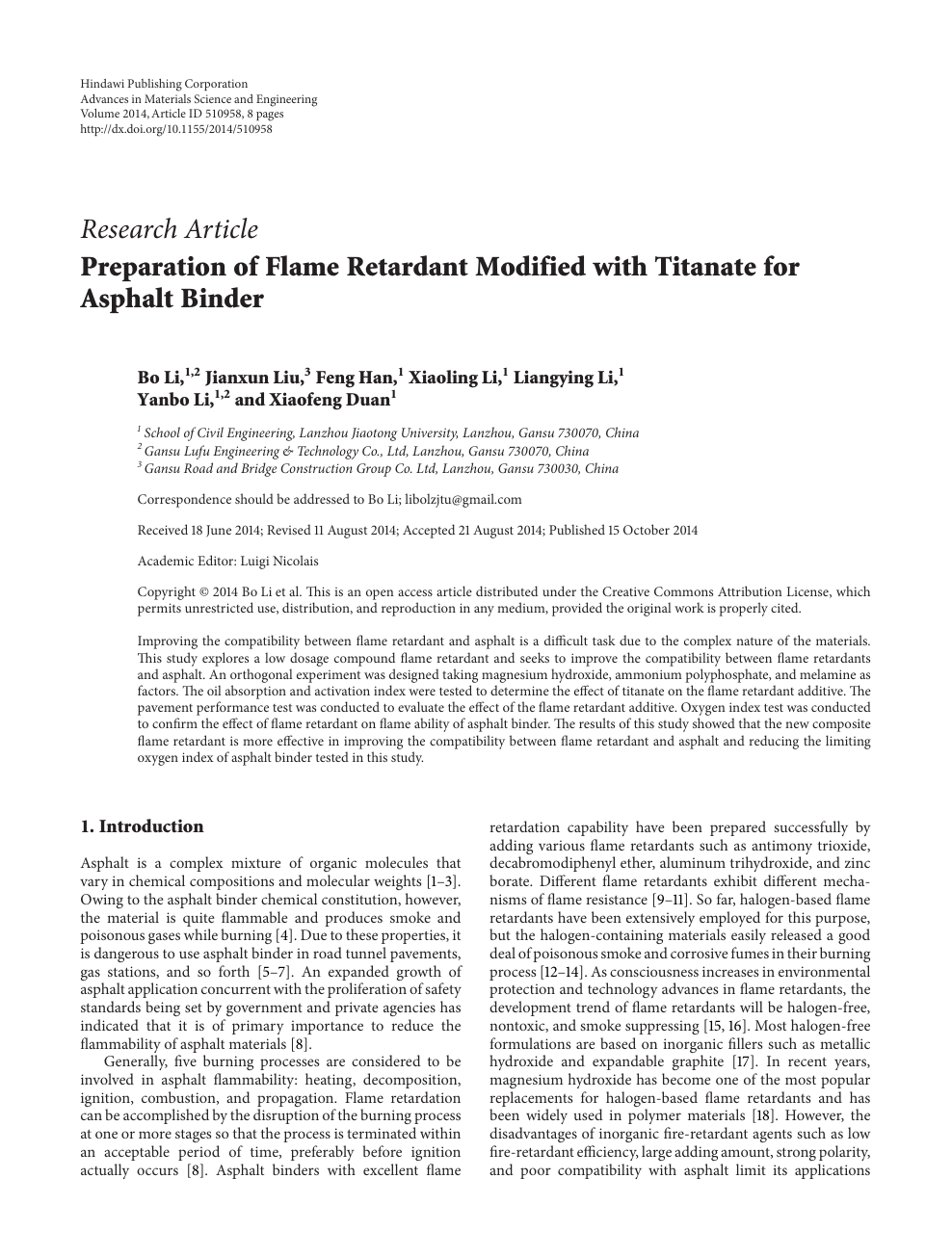 Preparation of Flame Retardant Modified with Titanate for