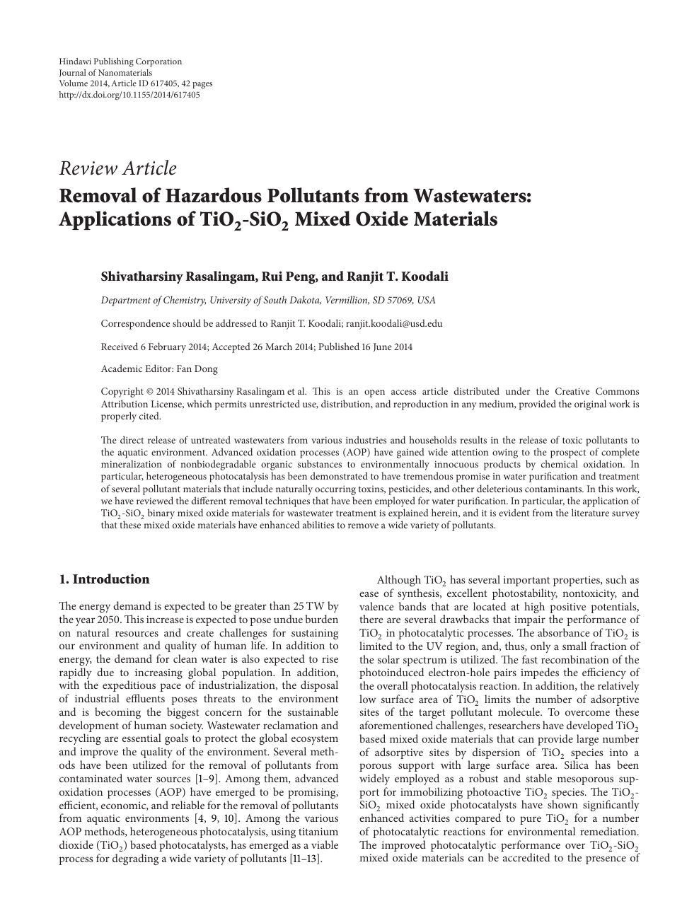 Removal of Hazardous Pollutants from Wastewaters: Applications of