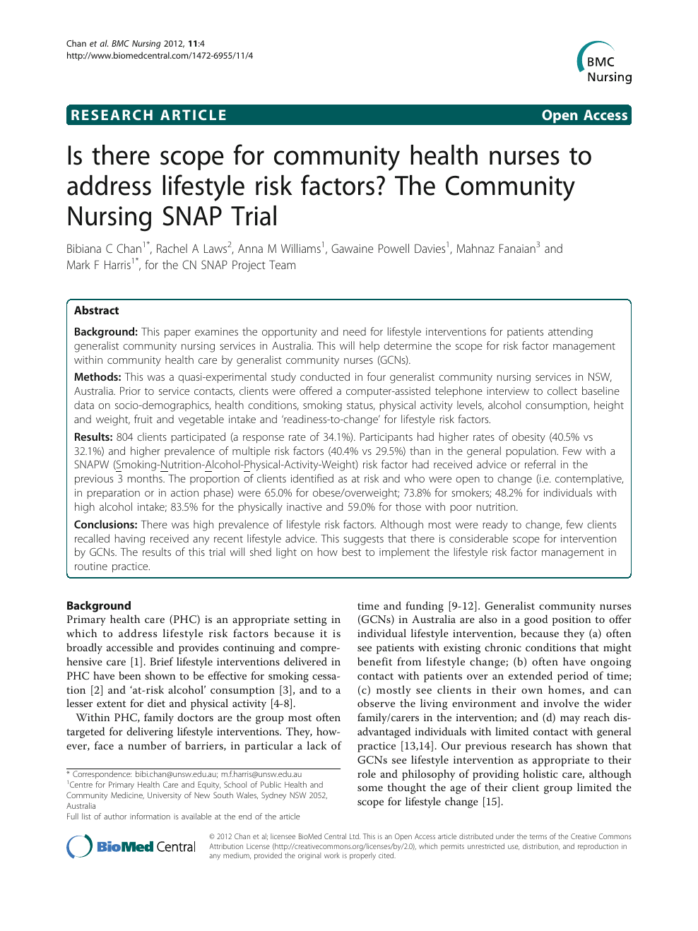 Is There Scope For Community Health Nurses To Address Lifestyle Risk Factors The Community Nursing Snap Trial Topic Of Research Paper In Health Sciences Download Scholarly Article Pdf And Read For
