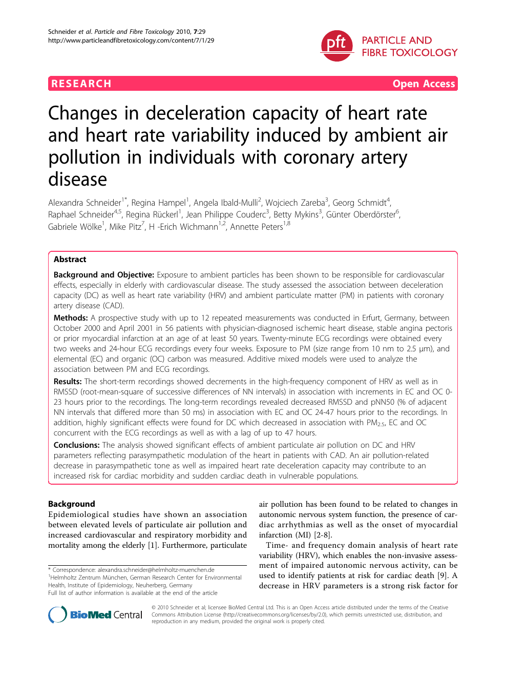 Changes in deceleration capacity of heart rate and heart