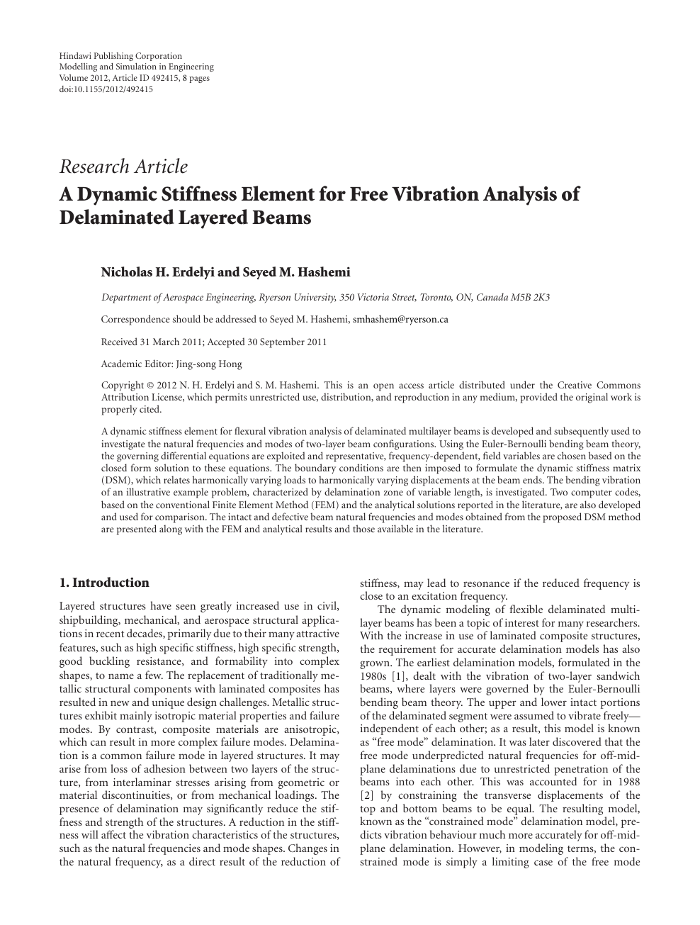 A Dynamic Stiffness Element for Free Vibration Analysis of