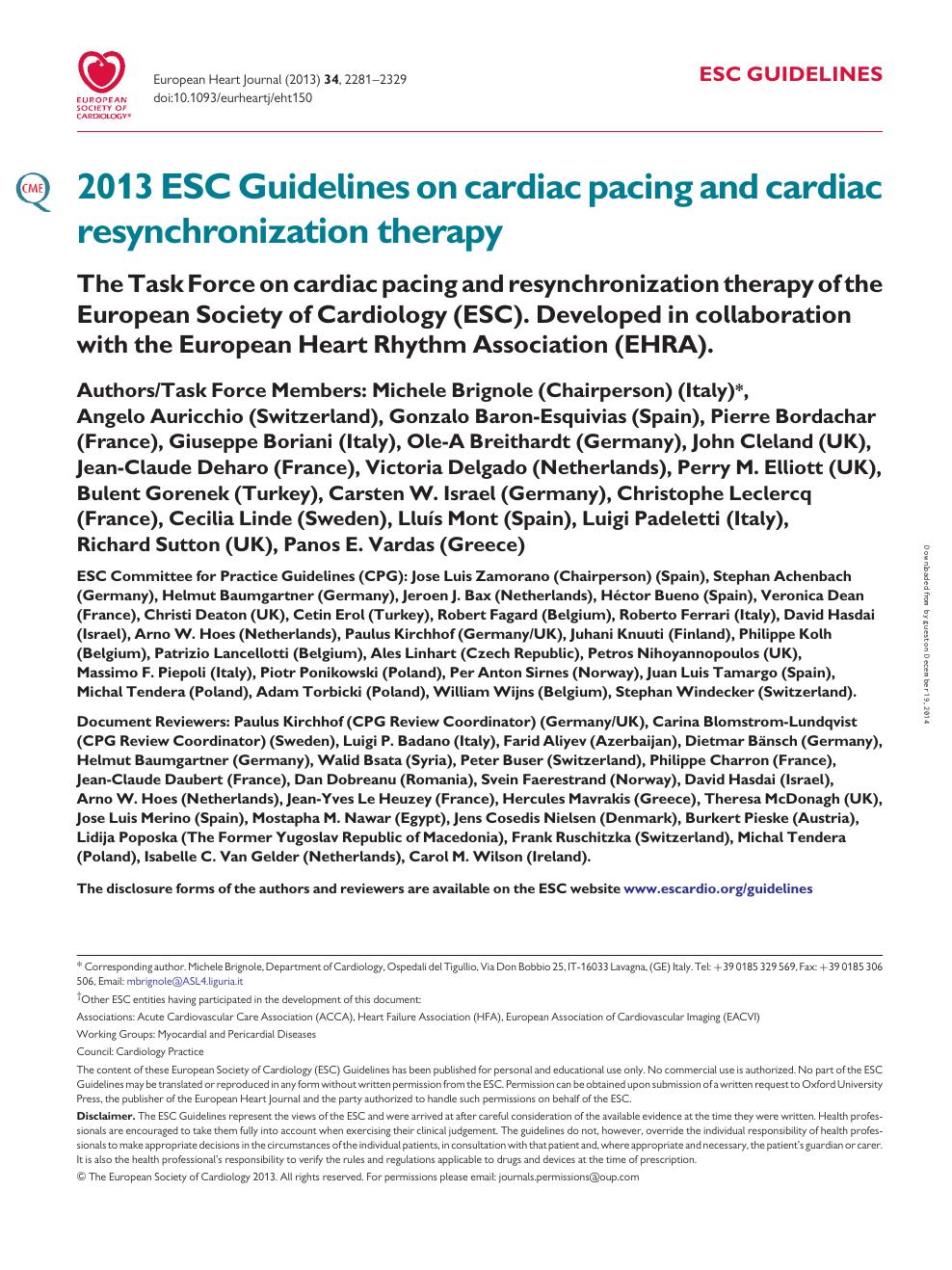 2013 ESC Guidelines on cardiac pacing and cardiac