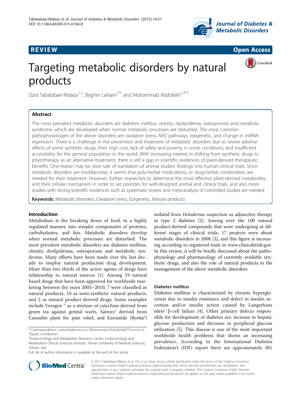 Targeting metabolic disorders by natural products – topic of research paper  in Clinical medicine. Download scholarly article PDF and read for free on  CyberLeninka open science hub.