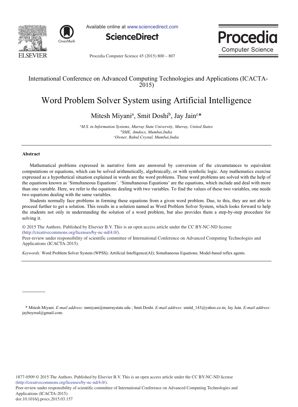 Word Problem Solver System Using Artificial Intelligence ... on