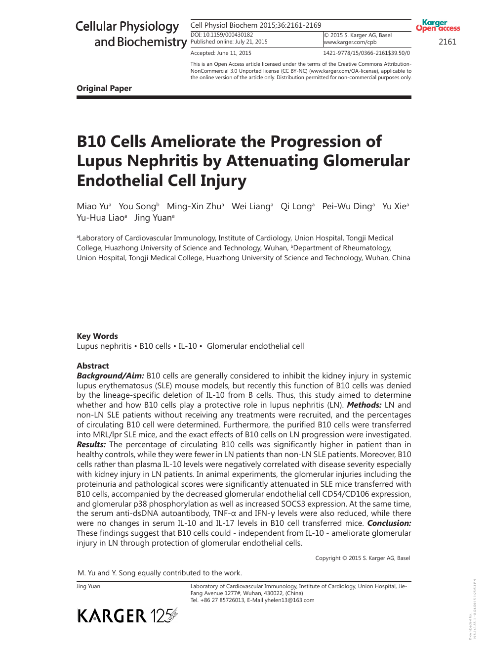 foto de B10 Cells Ameliorate the Progression of Lupus Nephritis by ...