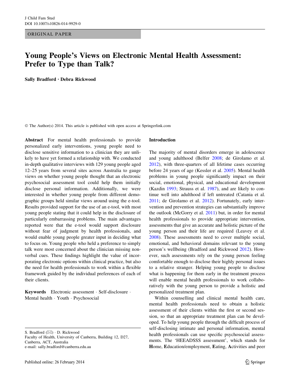 Young People S Views On Electronic Mental Health Assessment Prefer To Type Than Talk Topic Of Research Paper In Psychology Download Scholarly Article Pdf And Read For Free On Cyberleninka Open Science