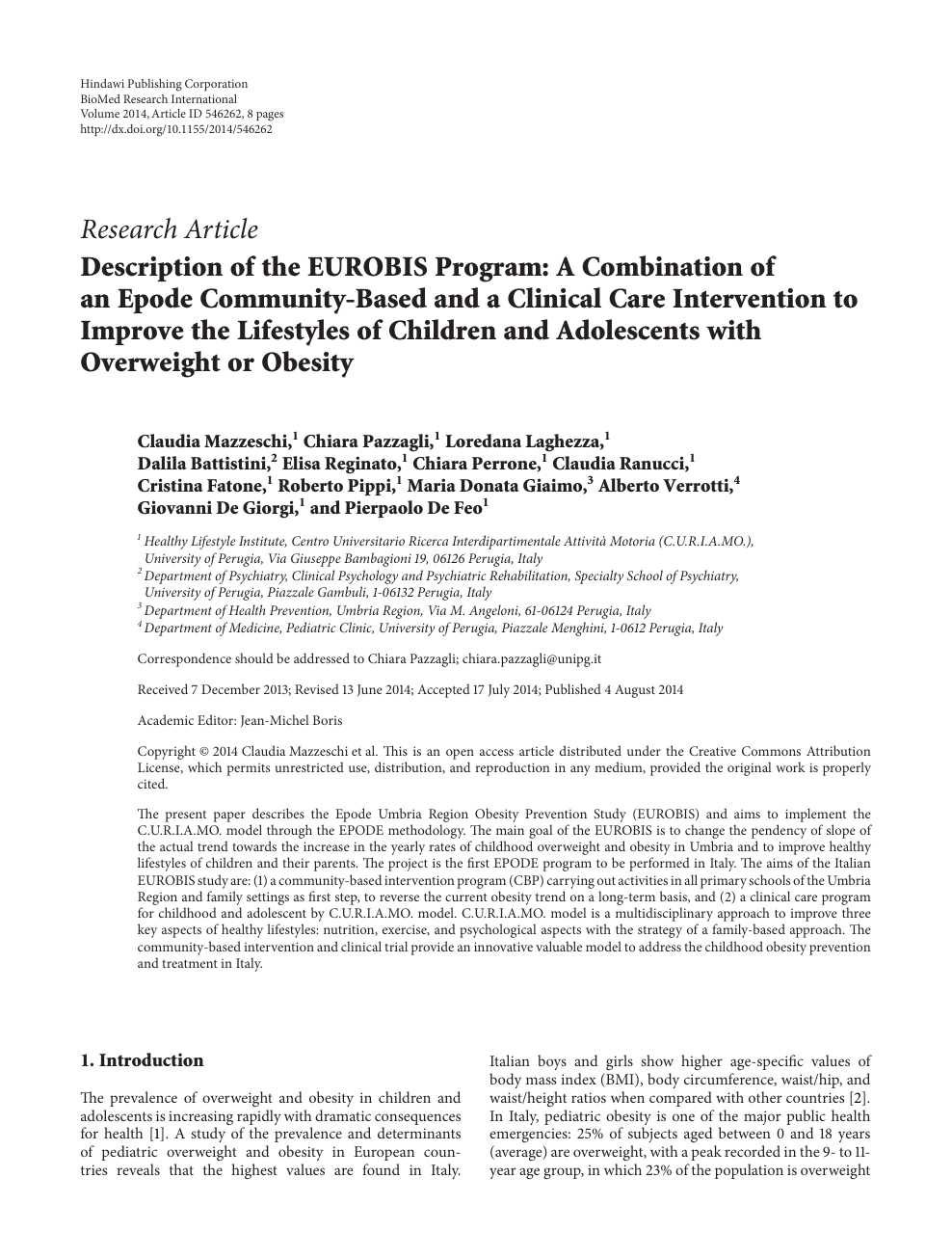 Description Of The Eurobis Program A Combination Of An Epode Community Based And A Clinical Care Intervention To Improve The Lifestyles Of Children And Adolescents With Overweight Or Obesity Topic Of Research