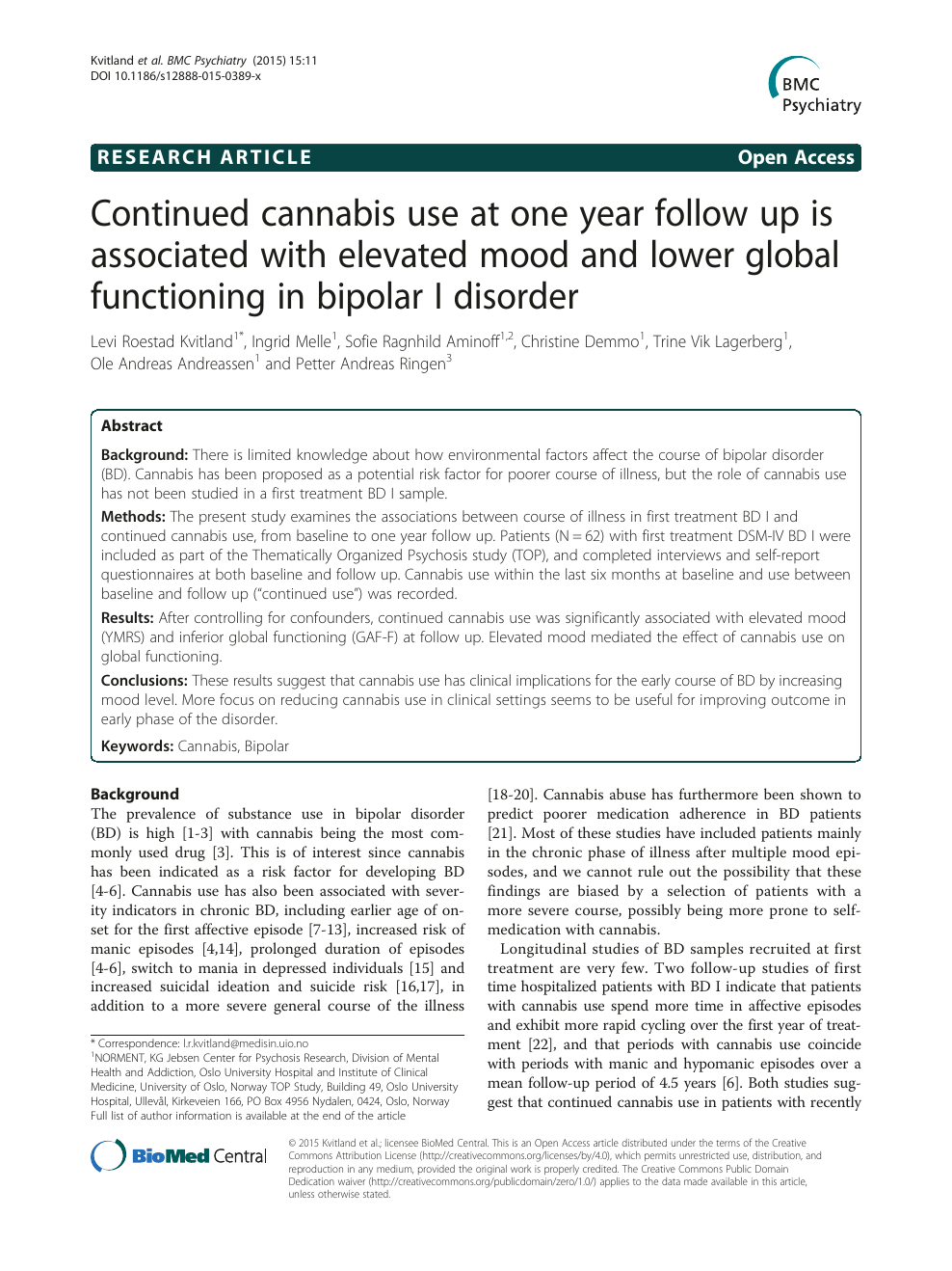 Continued cannabis use at one year follow up is associated with