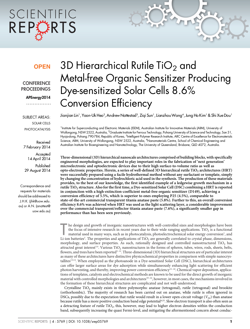 3D Hierarchical Rutile TiO2 and Metal-free Organic