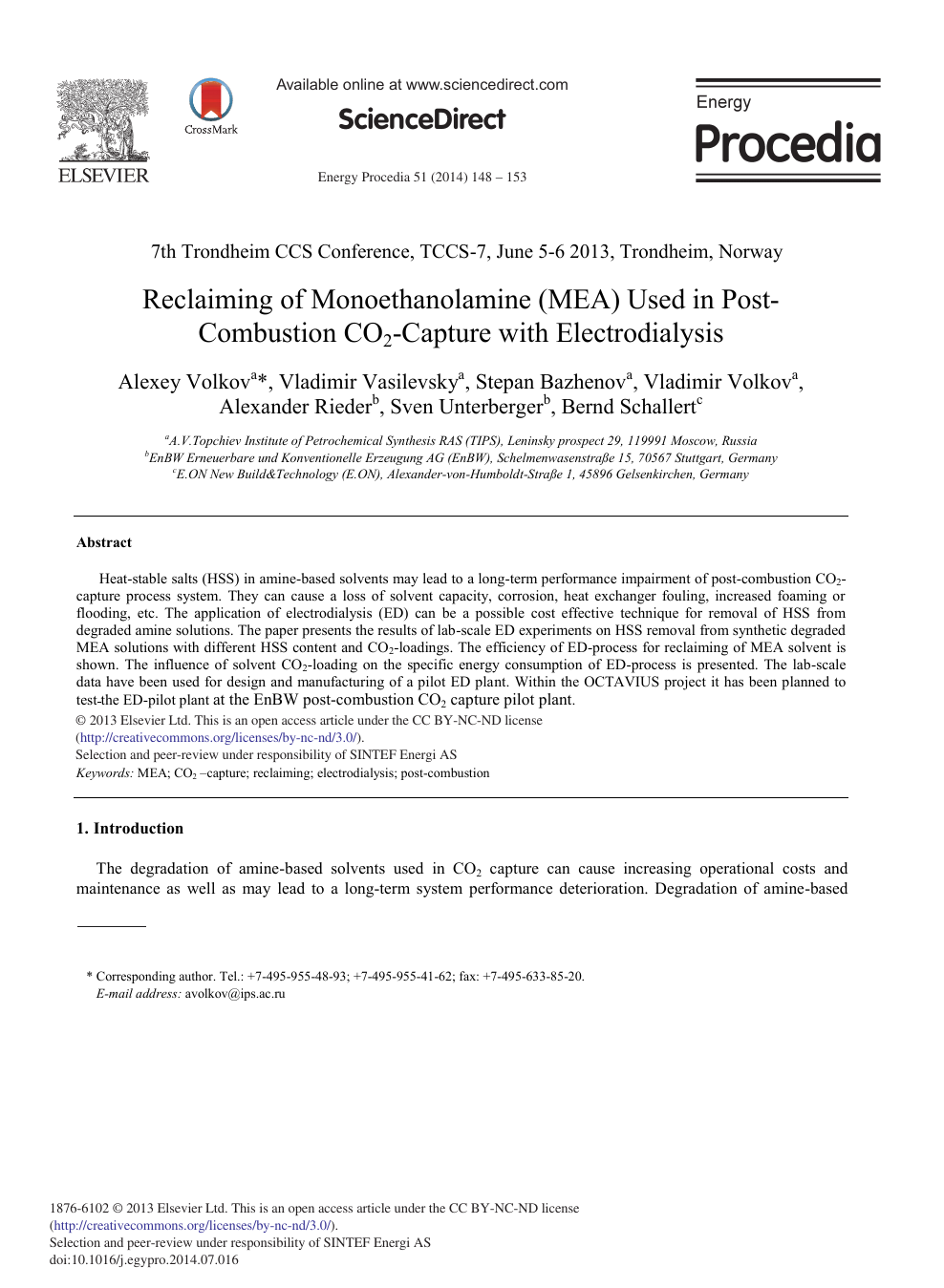 Reclaiming of Monoethanolamine (MEA) Used in Post-Combustion
