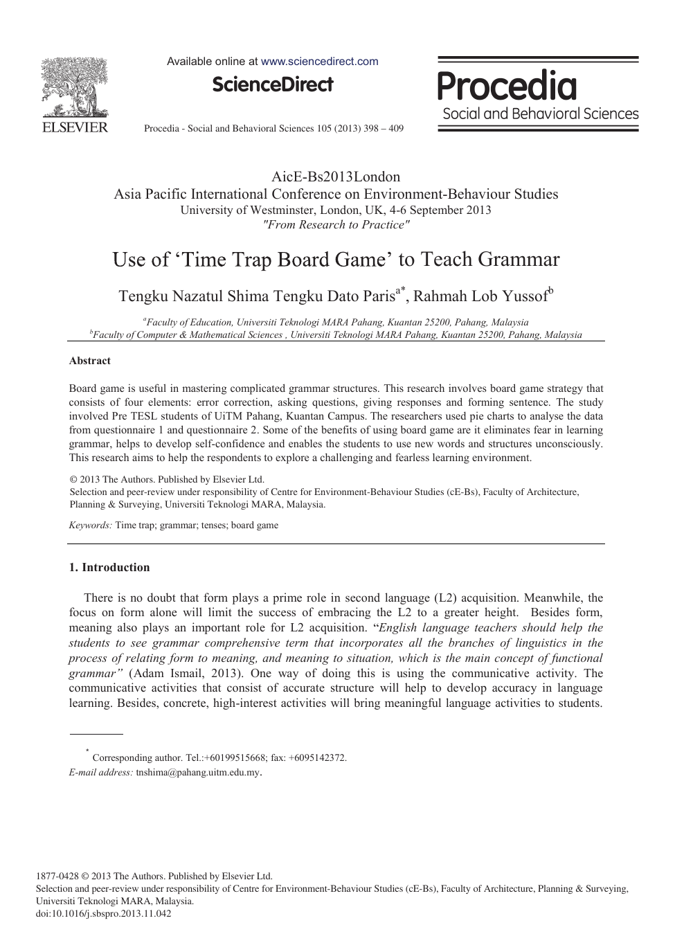 Board game research paper