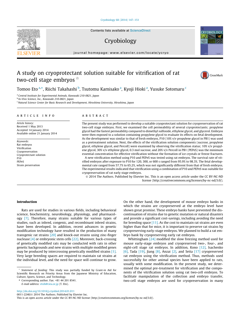 A study on cryoprotectant solution suitable for vitrification of rat