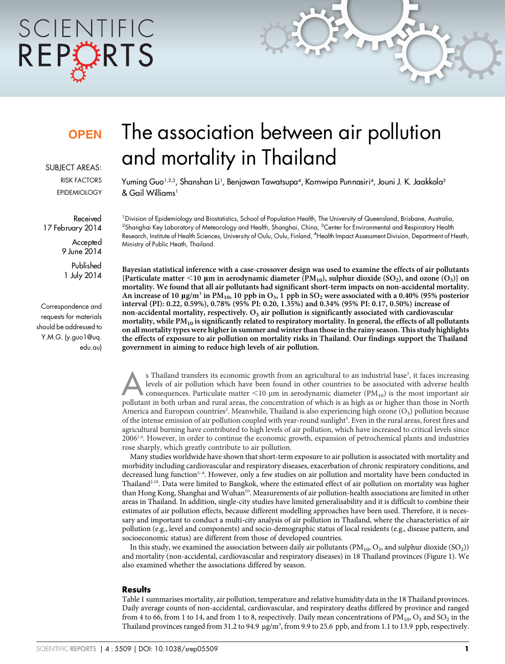 The association between air pollution and mortality in