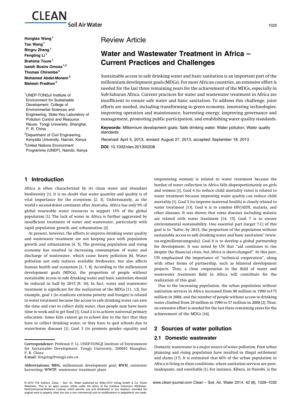 Water and Wastewater Treatment in Africa - Current Practices and