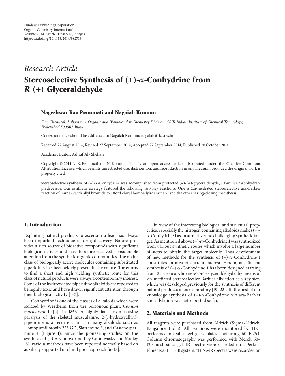 Stereoselective Synthesis of (+)- α -Conhydrine from R -(+
