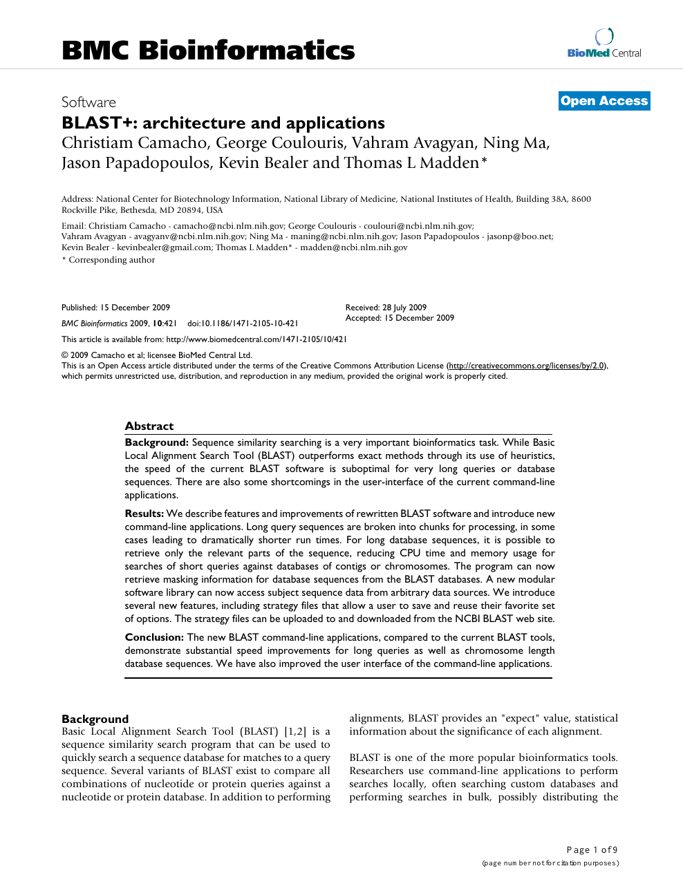 BLAST+: architecture and applications – topic of research