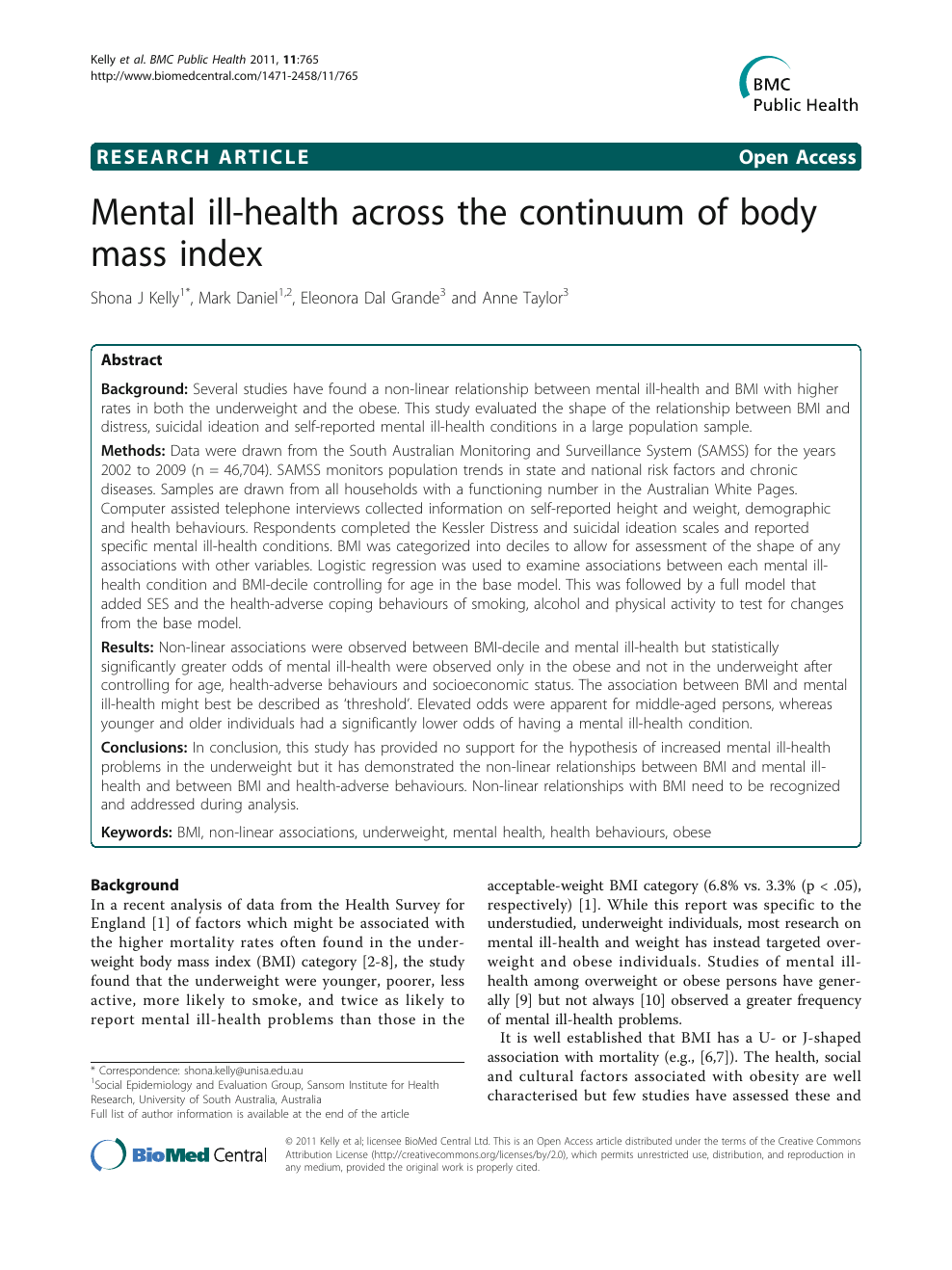 Mental ill health across the continuum of body mass index – topic ...