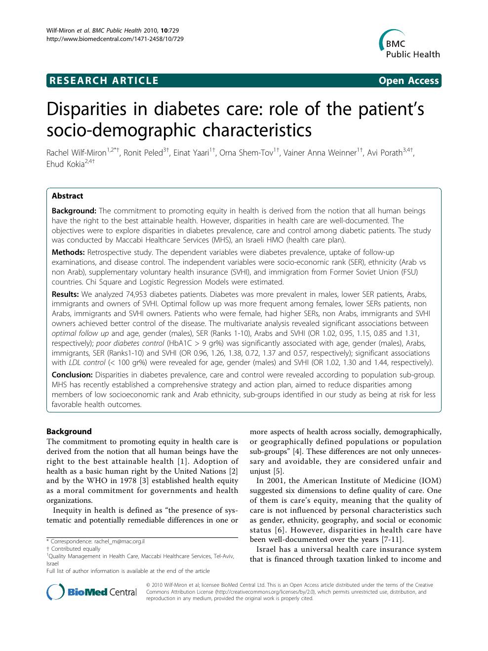 Disparities in diabetes care: role of the patient's socio