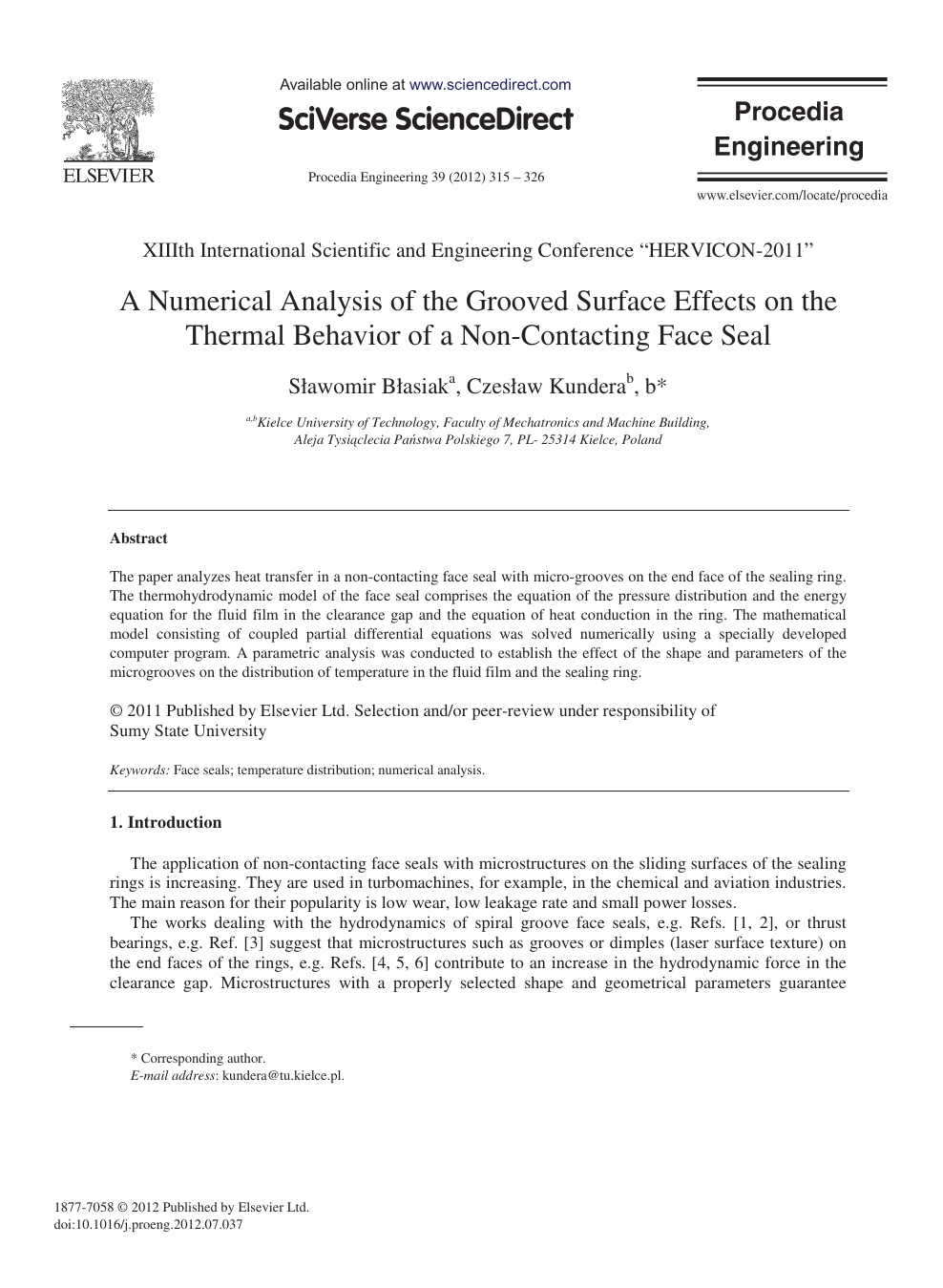A Numerical Analysis of the Grooved Surface Effects on the Thermal