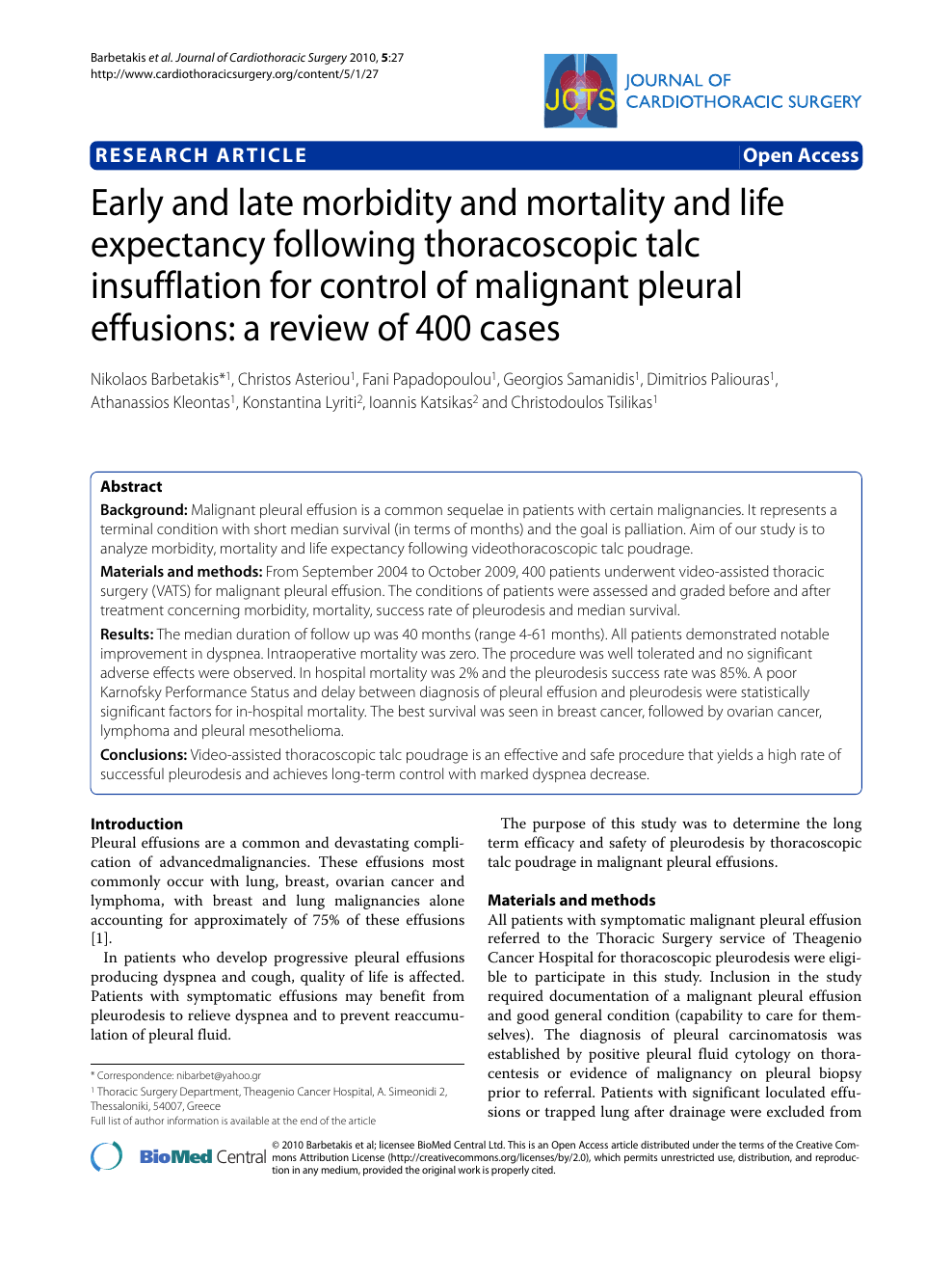 Early And Late Morbidity And Mortality And Life Expectancy Following Thoracoscopic Talc Insufflation For Control Of Malignant Pleural Effusions A Review Of 400 Cases Topic Of Research Paper In Clinical Medicine