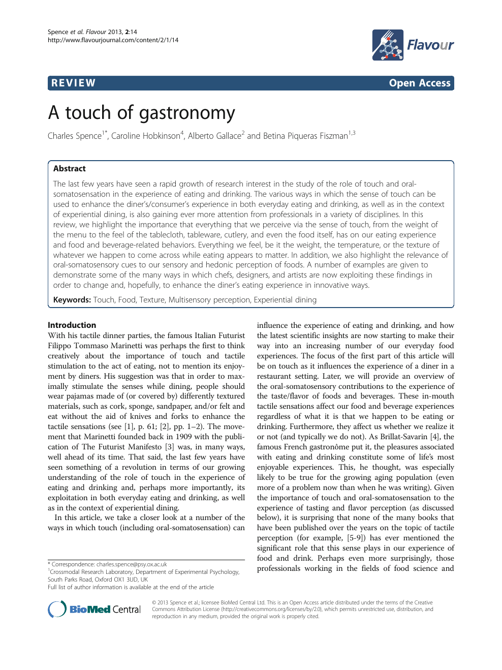 A touch of gastronomy – topic of research paper in Psychology