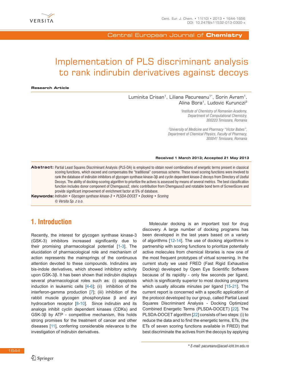 Implementation of PLS discriminant analysis to rank