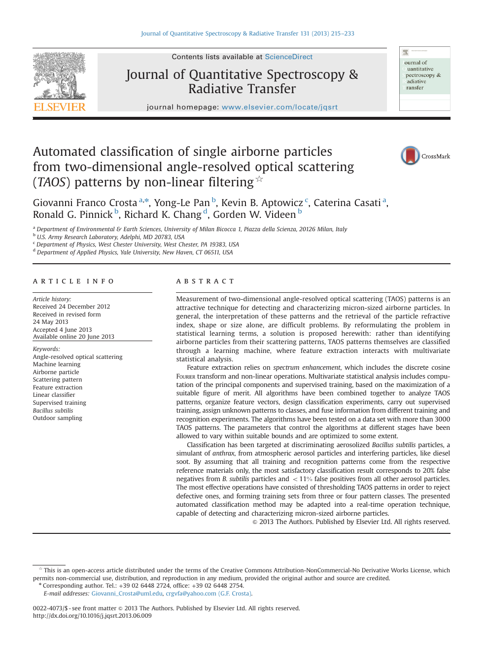 Automated classification of single airborne particles from