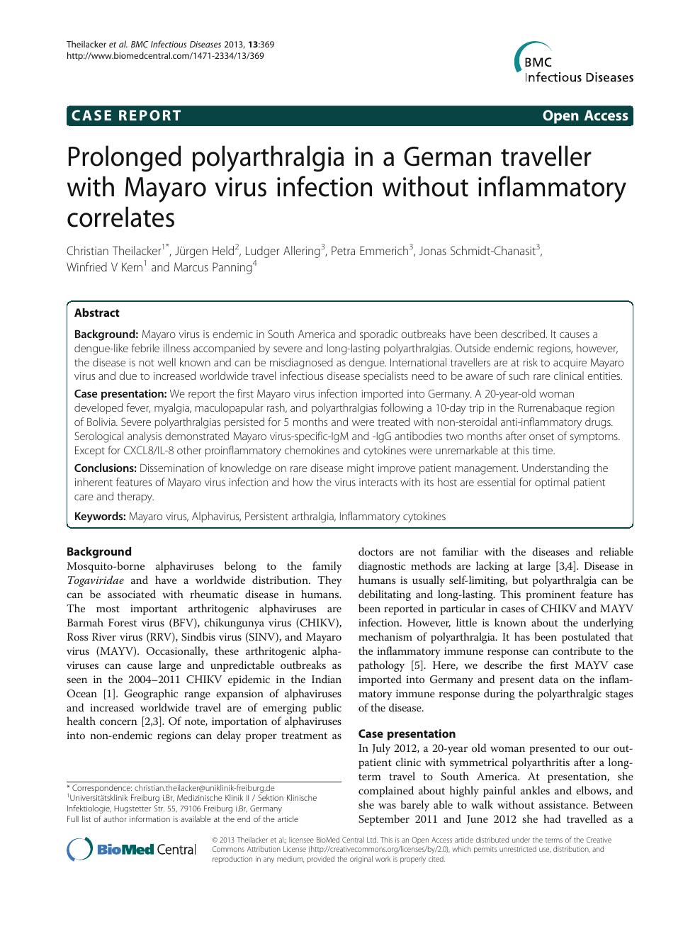 Prolonged polyarthralgia in a German traveller with Mayaro