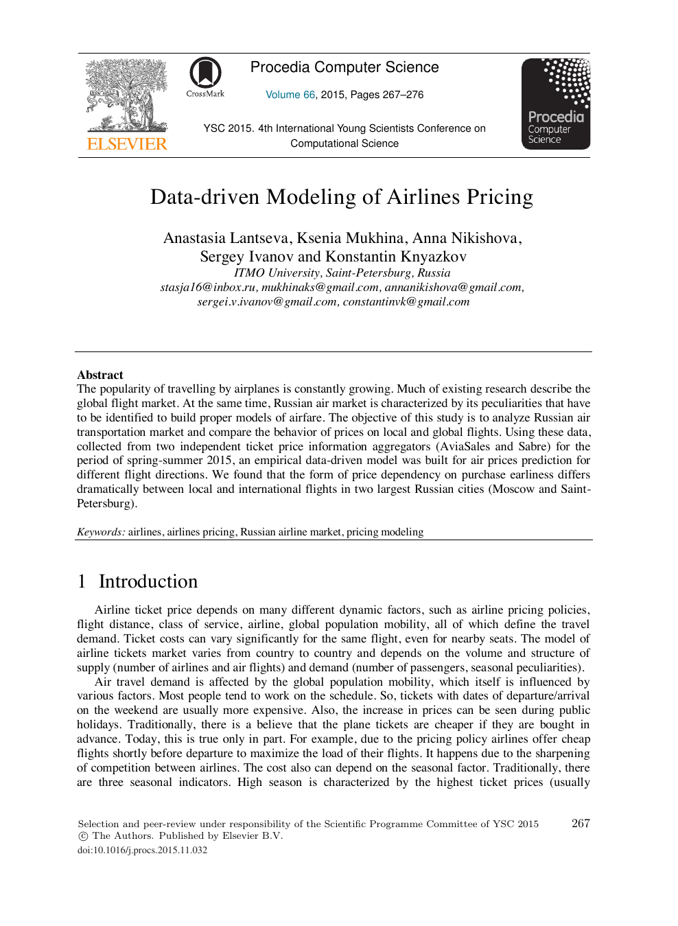 Data-driven Modeling of Airlines Pricing – topic of research paper