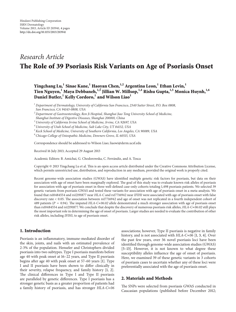 The Role of 39 Psoriasis Risk Variants on Age of Psoriasis