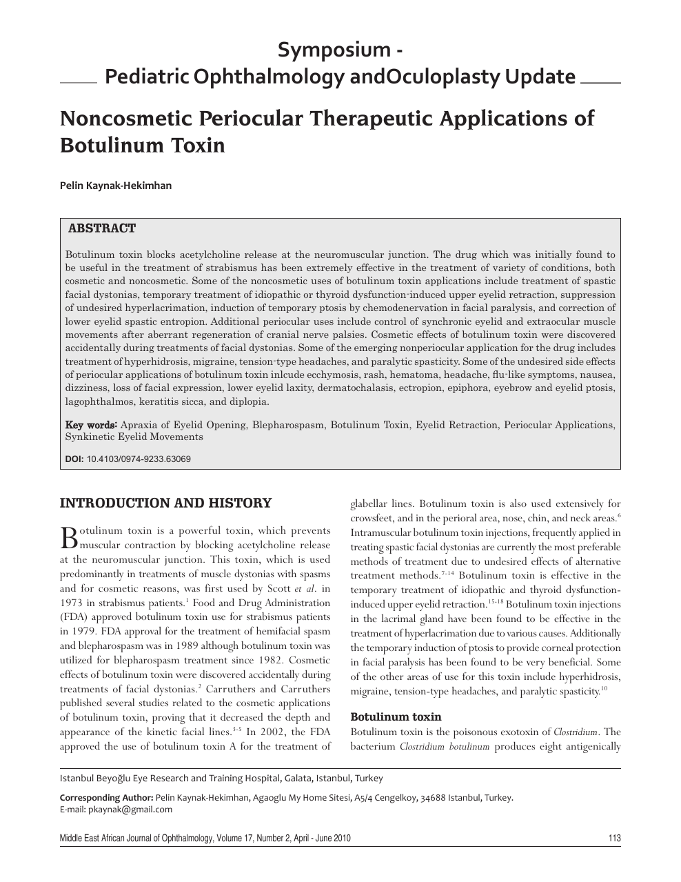Noncosmetic periocular therapeutic applications of botulinum