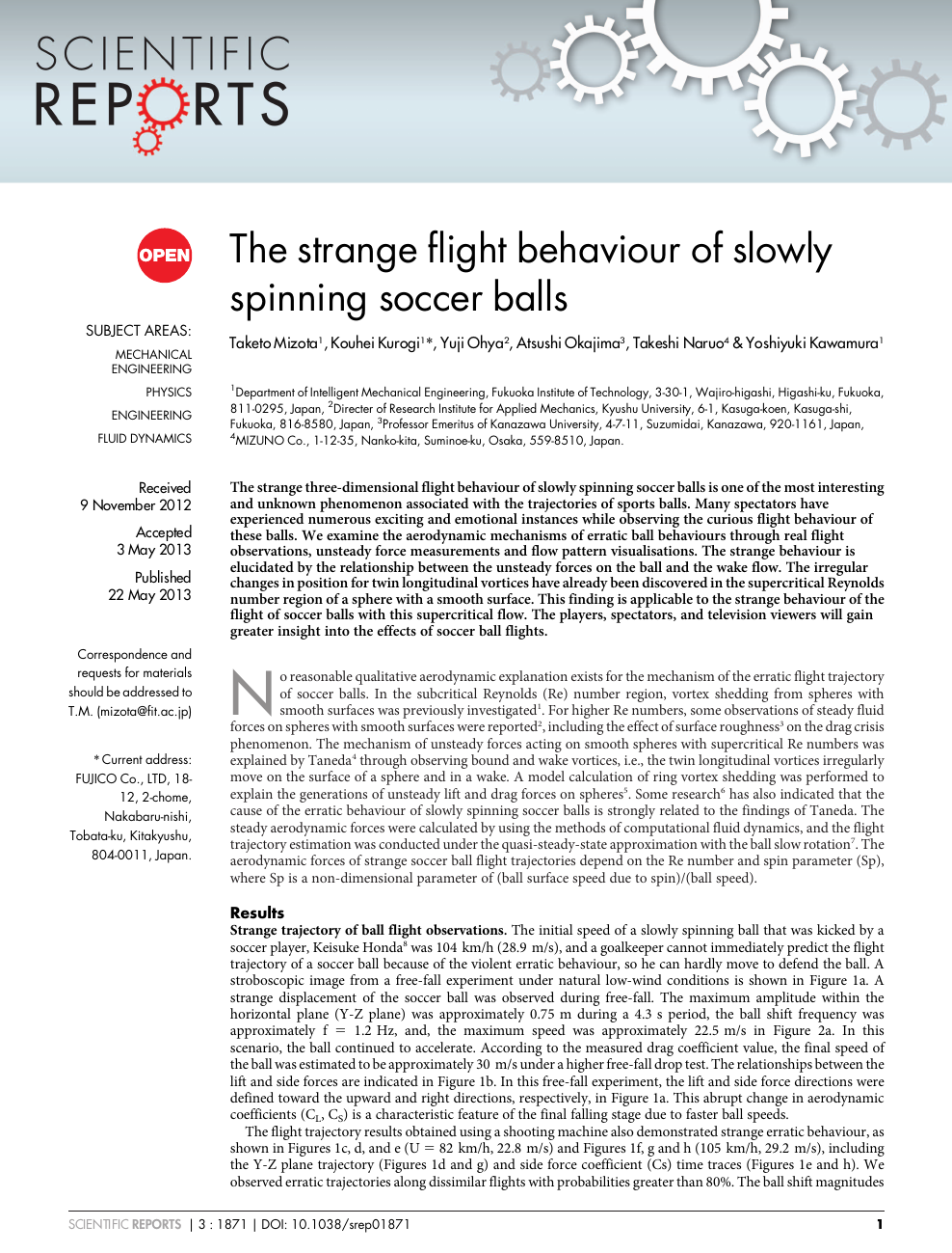 The strange flight behaviour of slowly spinning soccer balls