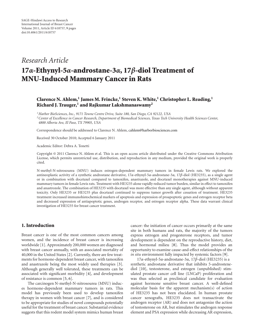 17α-Ethynyl-5α-androstane-3α, 17β-diol Treatment of MNU