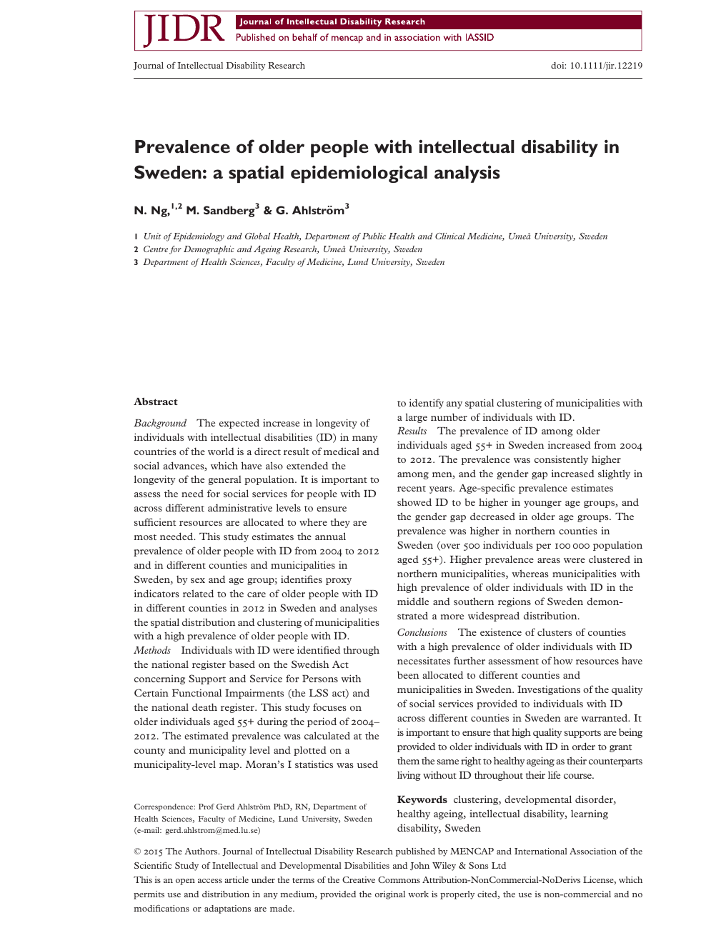 Prevalence of older people with intellectual disability in