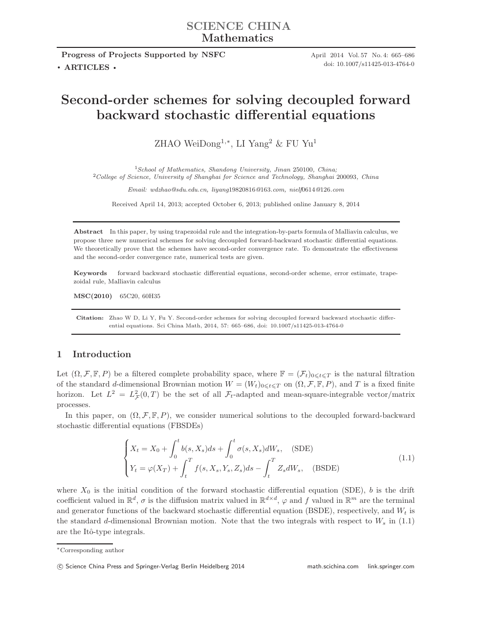Second-order schemes for solving decoupled forward backward