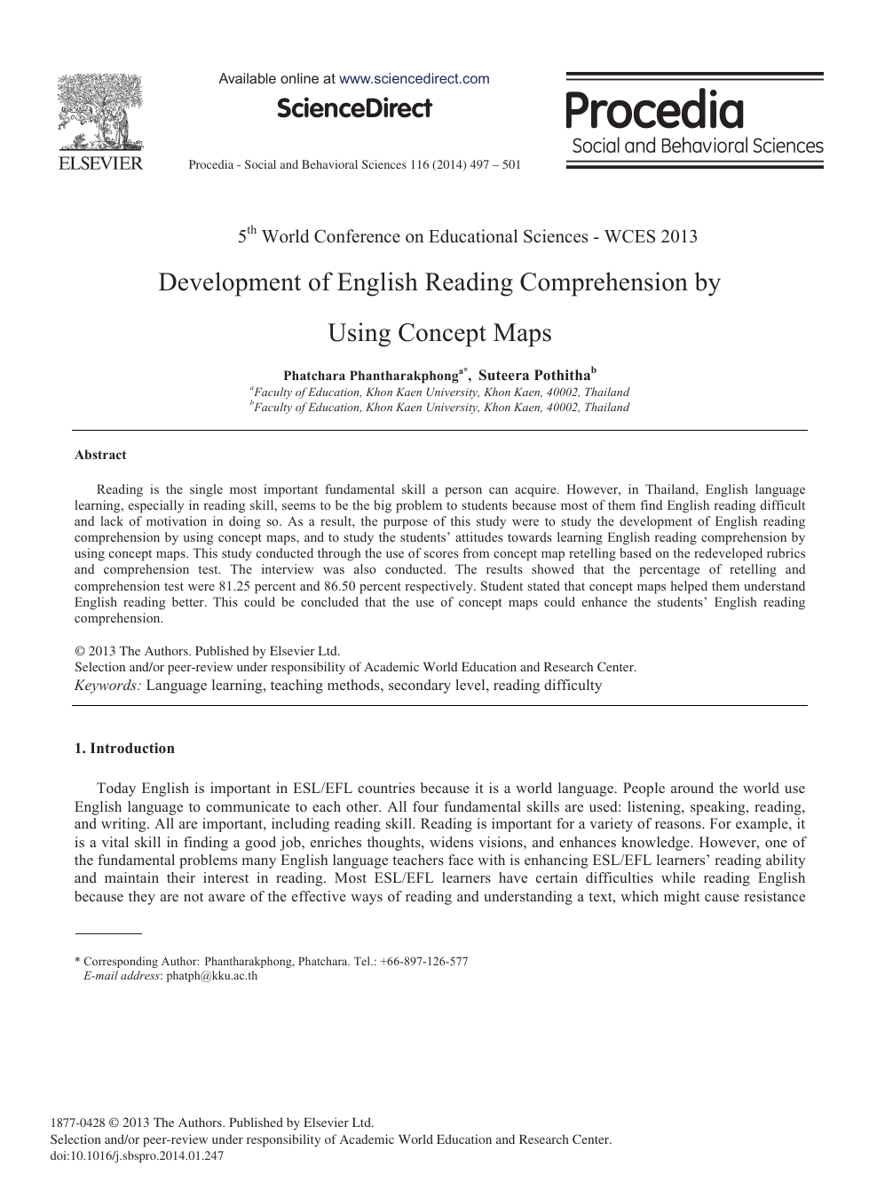 - Development Of English Reading Comprehension By Using Concept Maps