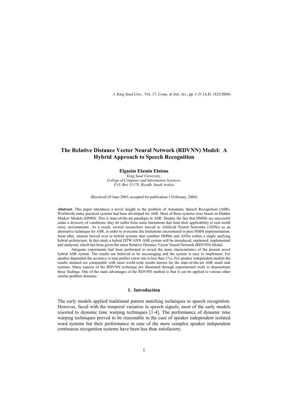 The Relative Distance Vector Neural Network (RDVNN) Model: A