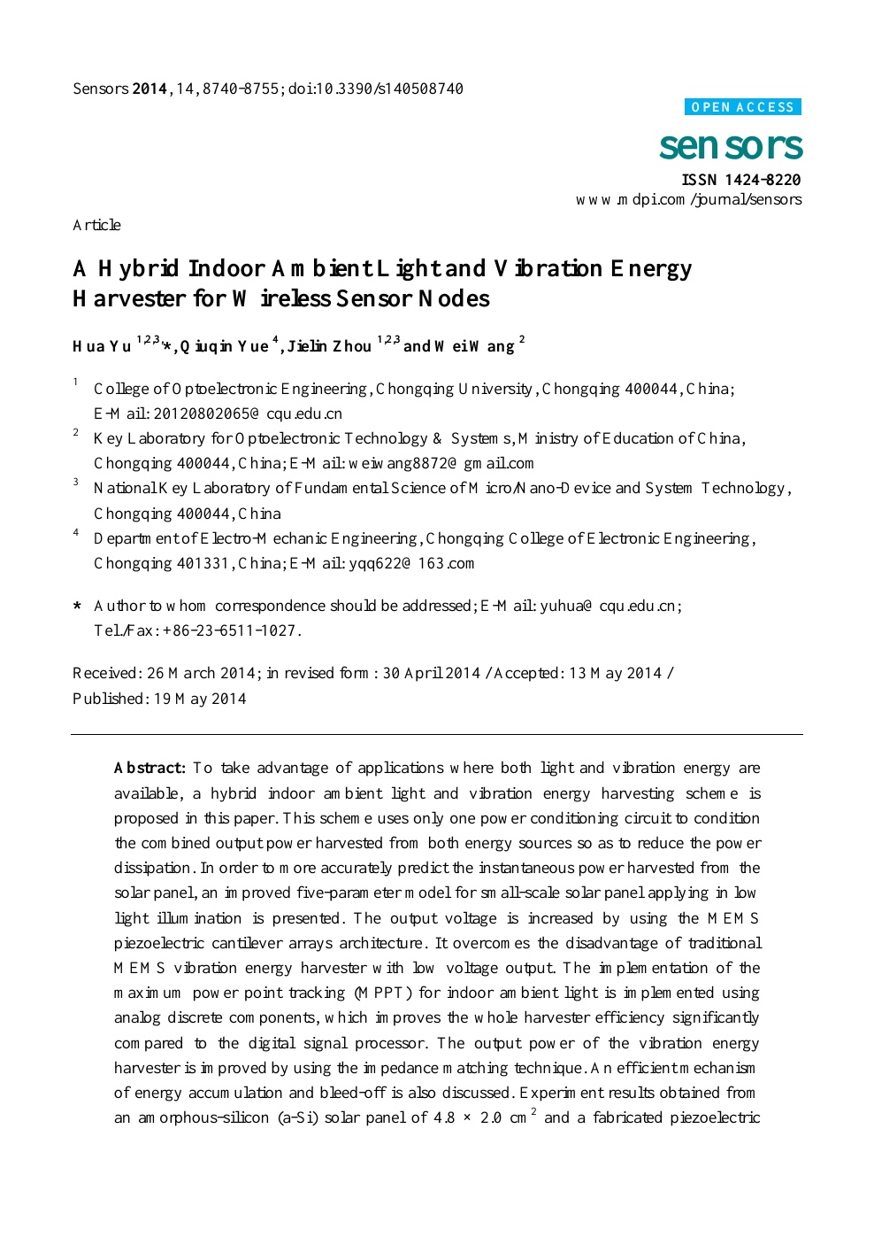A Hybrid Indoor Ambient Light and Vibration Energy Harvester