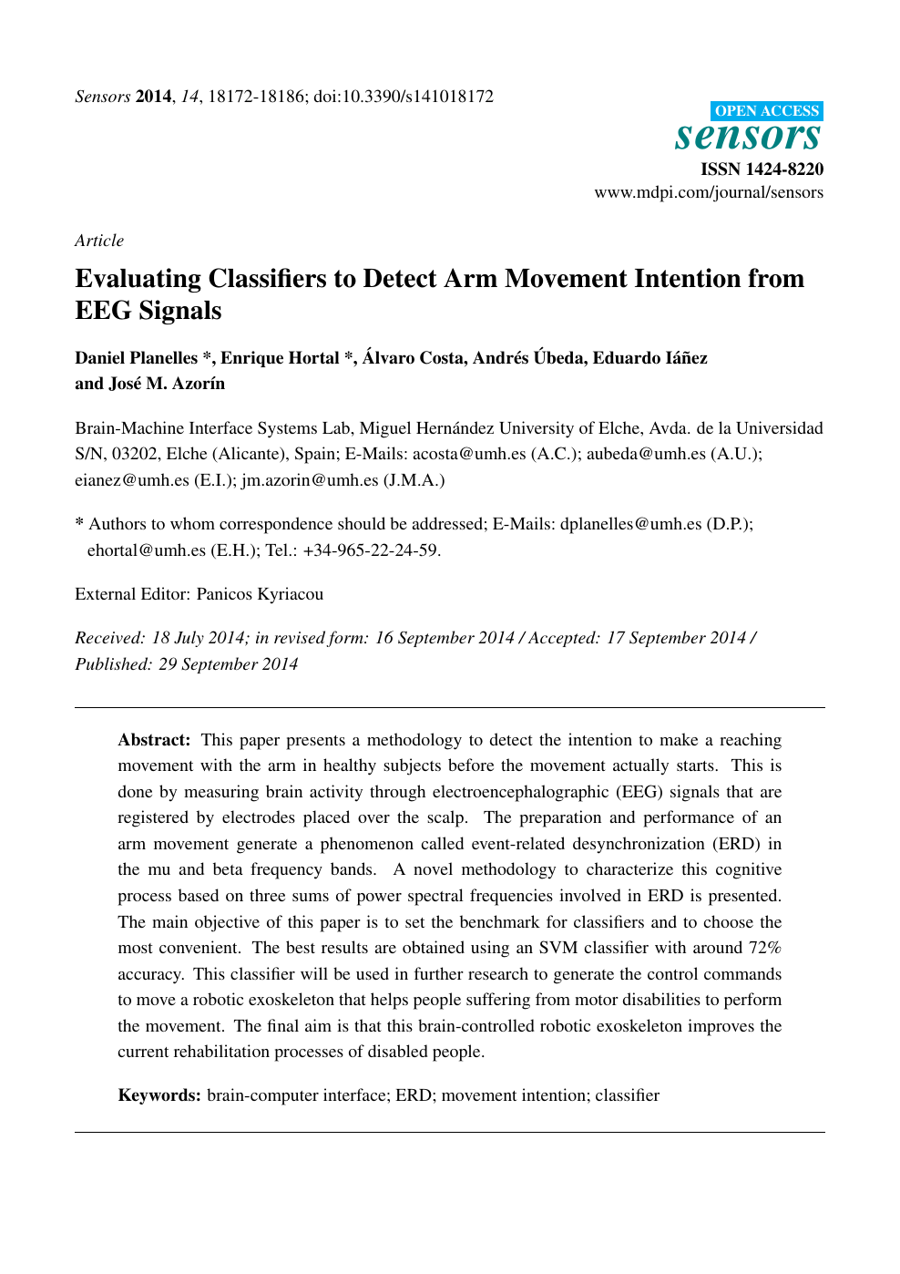 Evaluating Classifiers to Detect Arm Movement Intention from