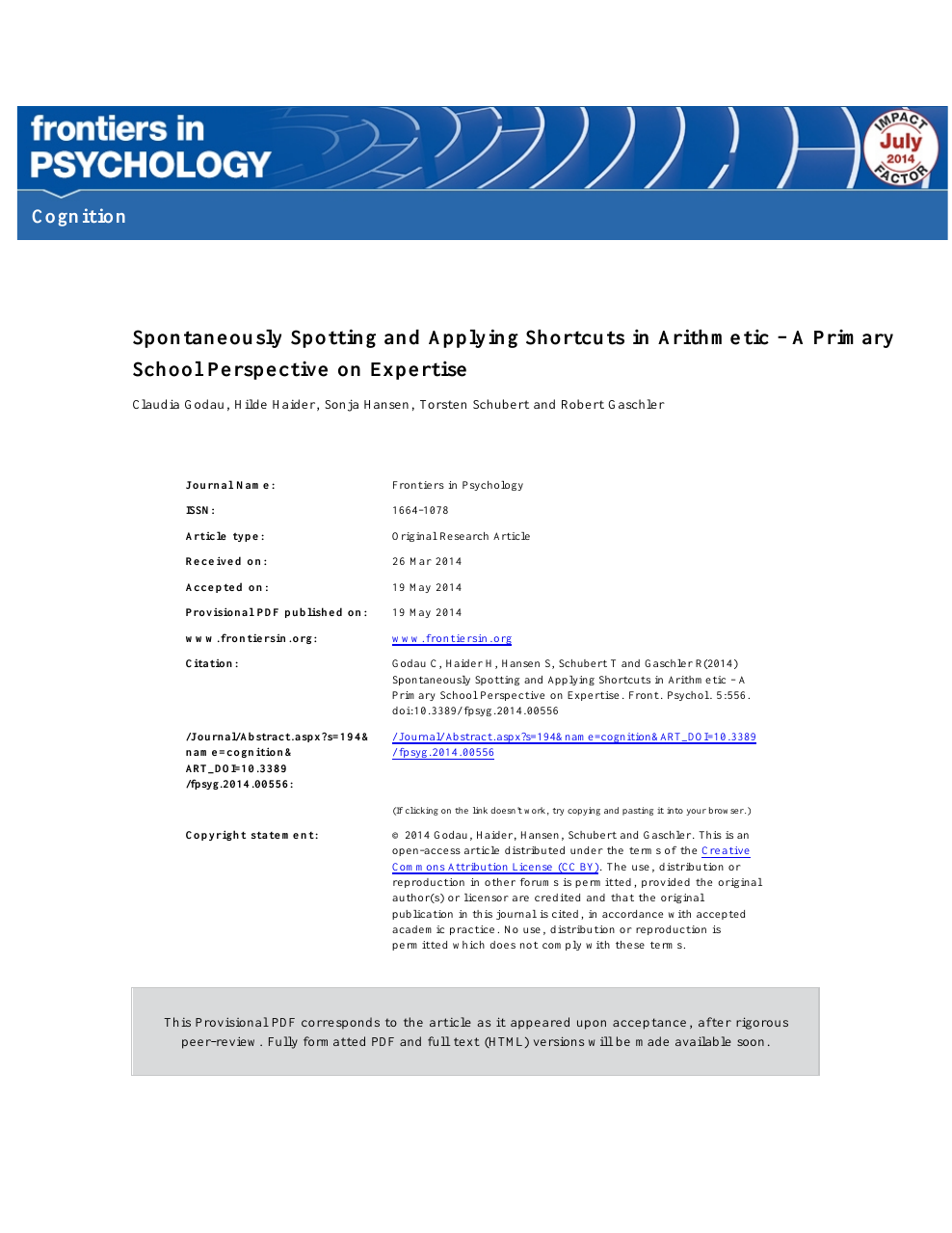 Spontaneously spotting and applying shortcuts in arithmetic—a