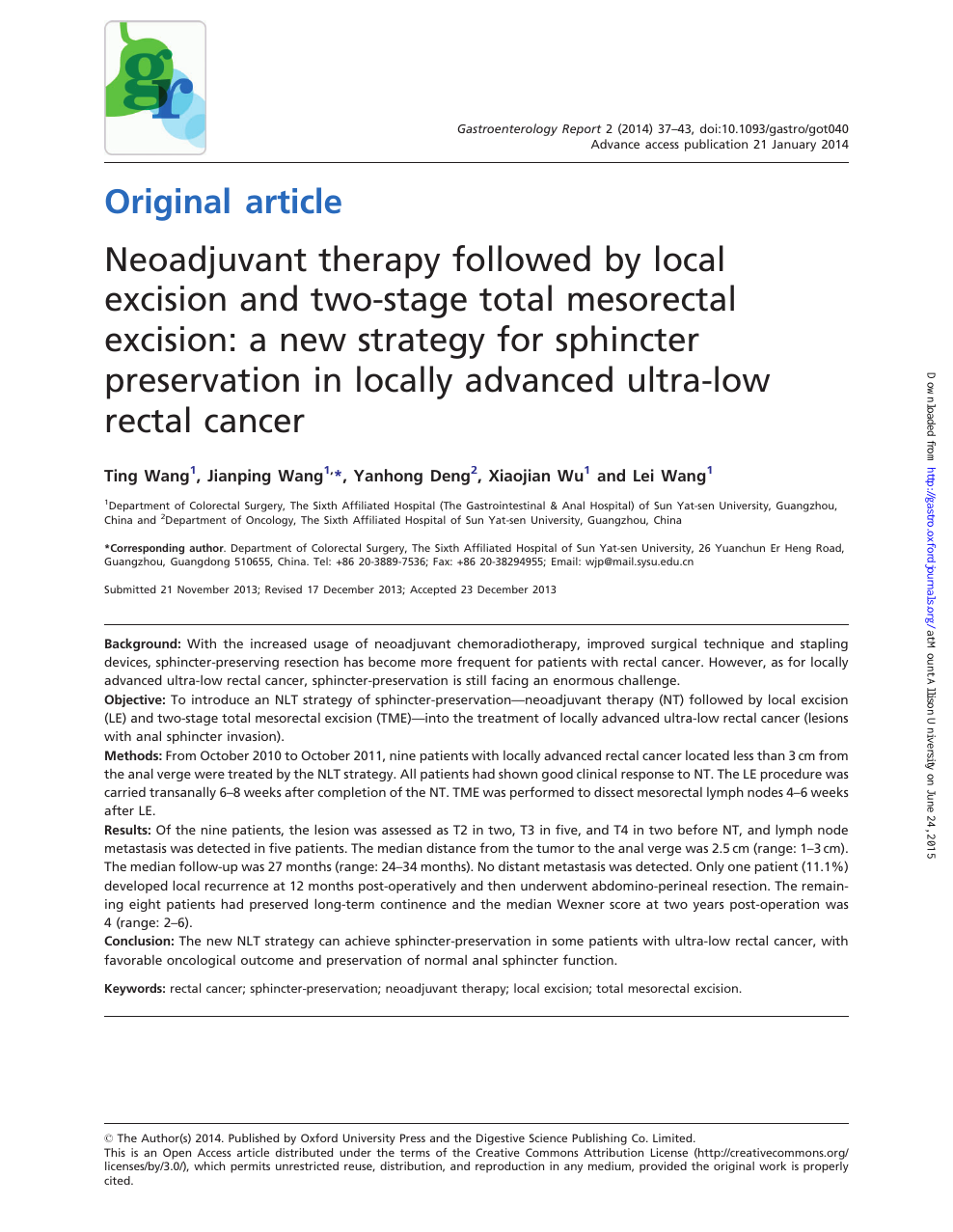 Neoadjuvant Therapy Followed By Local Excision And Two Stage Total Mesorectal Excision A New Strategy For Sphincter Preservation In Locally Advanced Ultra Low Rectal Cancer Topic Of Research Paper In Clinical Medicine Download