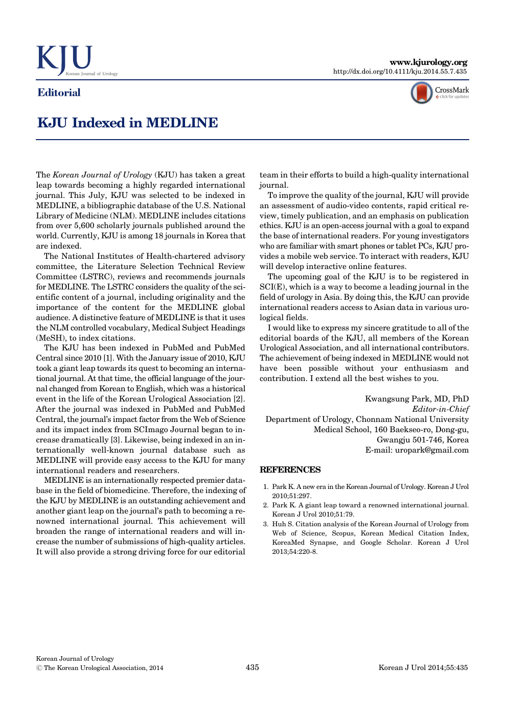 KJU Indexed in MEDLINE – topic of research paper in Political