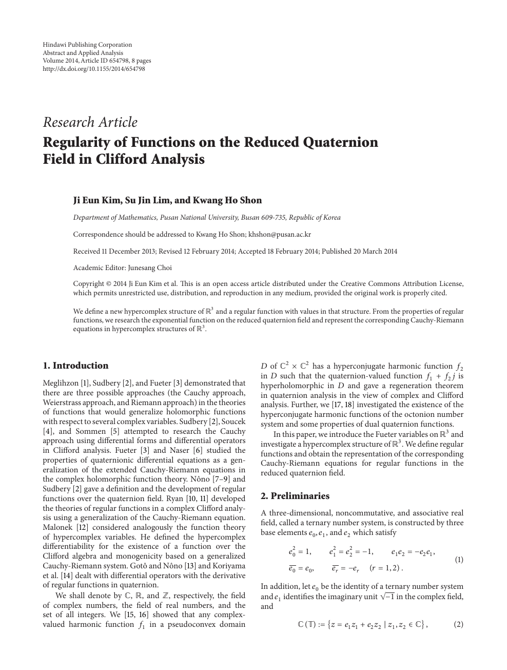Regularity of Functions on the Reduced Quaternion Field in Clifford