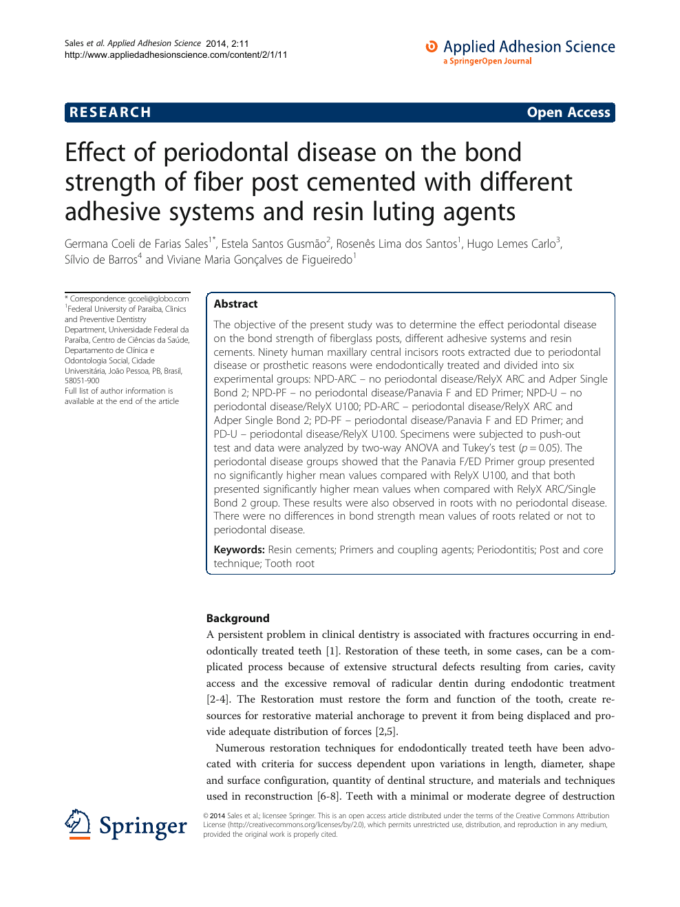 Effect Of Periodontal Disease On The Bond Strength Fiber Post
