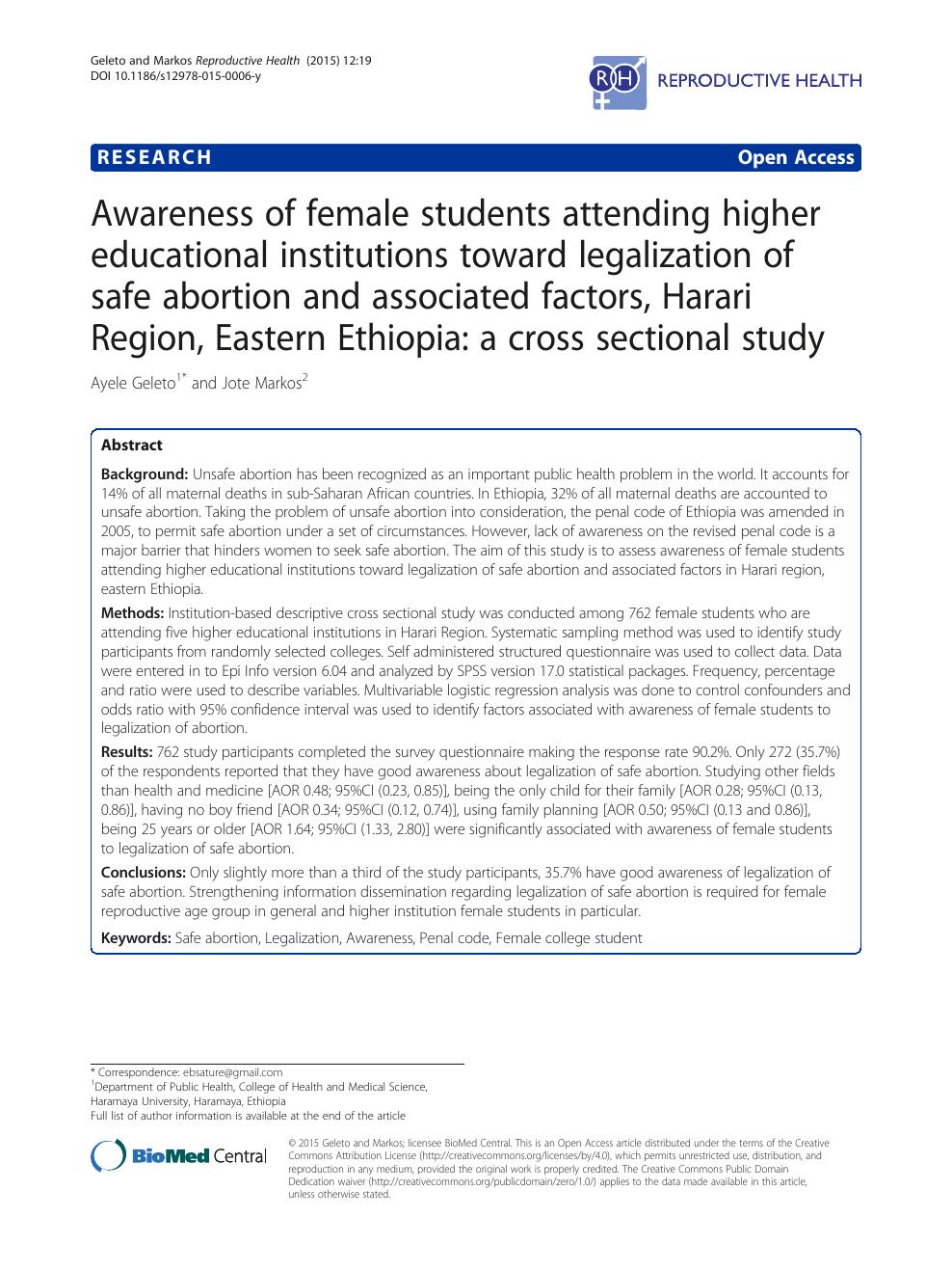 Awareness of female students attending higher educational